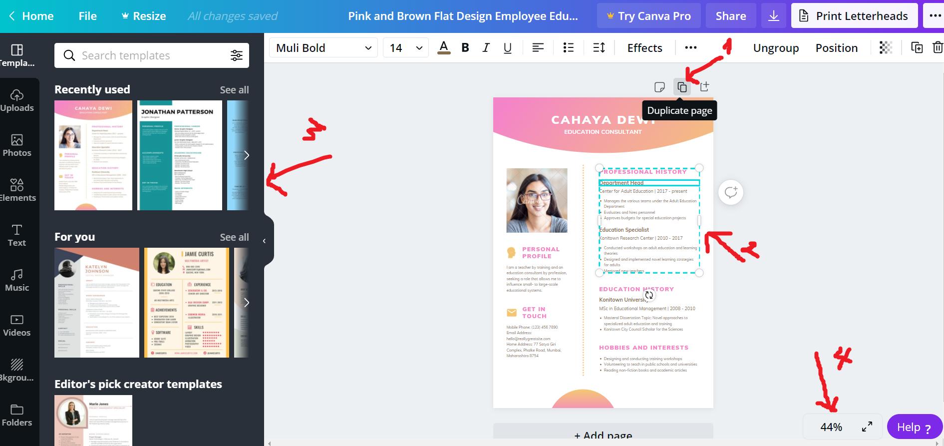 Thiết kế CV trên Canva